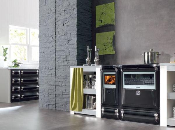 Cocina le a cerrada vulcano 8 101cm horno inox for Cocina calefactora lacunza