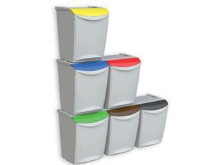 Cubo reciclaje individual apilable gris duett - Cubo de reciclaje ...